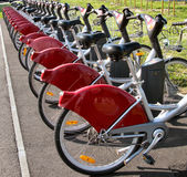 City bikes. Public bicycles in Toulouse, France Royalty Free Stock Photo