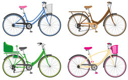 City bikes. Various  city bicycles. All bikes are layered. Details can be removed Royalty Free Stock Photography