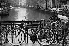 City of bikes - Amsterdam, Holland. stock photos