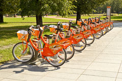 City bikes fro ren in Vilnius Royalty Free Stock Photos