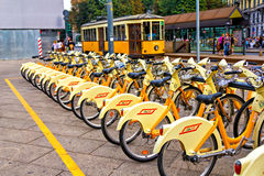 City bikes in Milan Royalty Free Stock Image