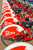 City bikes for rent in Barcelona, Spain. Royalty Free Stock Photo
