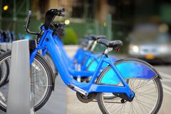 City bikes for rent in New York, USA Royalty Free Stock Photography