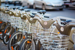 City bikes for rent in Paris, France Royalty Free Stock Image
