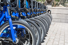 City bikes rent parking in NYC Royalty Free Stock Photography