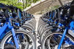 City bikes rent parking in NYC Royalty Free Stock Images