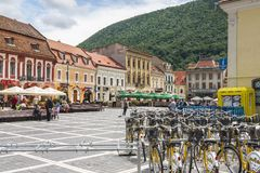 City bikes renting station in Brasov, Romania Stock Images