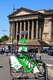 City Bikes and St Georges Hall, Liverpool. Royalty Free Stock Images
