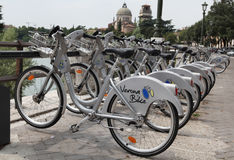 City bikes in Verona, Italy Stock Images