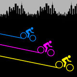 City biking. Colorful biking and healthy exercise in the big city Stock Photo