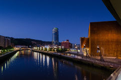 The City of Bilbao at Night. Night scene from Bilbao, Euskadi, Spain Stock Image