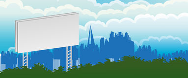 City Billboard. Blank billboard over little green trees, city on the background Royalty Free Stock Images