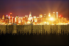 City with binary code Stock Photography