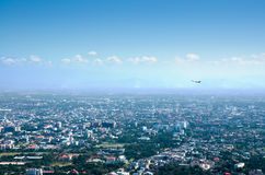 City bird eyes view and airplane Royalty Free Stock Photos