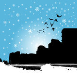 City with birds. Silhouette background vector Royalty Free Stock Photo