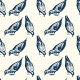 City birds pattern. Vector seamless pattern with hand drawn eating city birds. Beautiful chalk drawing, perfect for prints and patterns Stock Images