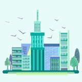 City, birds, trees, houses, buildings. City into a flat style. Blue-green house with beautiful architecture and birds soaring in the sky. On the sides of trees Stock Photography