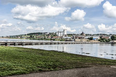 The City Of Birsk. City view from the pontoon bridge. Royalty Free Stock Image