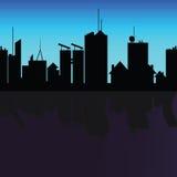 City black silhouette shadow on river Stock Photos
