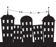 City black and white. Urban City silhouette and birds on wire Royalty Free Stock Photos