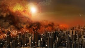 City in a blaze. Apocalyptic scene with firestorm over the city Stock Photos