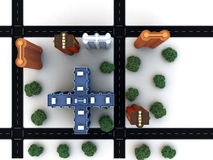 City block with buildings roads royalty free stock images