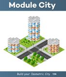 Landscape of the city. City block quarter district isometric 3D landscape of the town. Top view of dimensional area modern houses and skyscrapers of urban blocks Royalty Free Stock Images