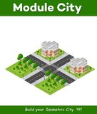 Landscape of the city. City block quarter district isometric 3D landscape of the town. Top view of dimensional area modern houses and skyscrapers of urban blocks Royalty Free Stock Photography