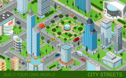 City block streets transport buildings flat 3d isometric vector Royalty Free Stock Photo