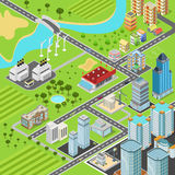 City block streets transport buildings flat 3d isometric vector Stock Photography