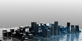 City - blue and black isolated on gray Stock Image