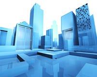 City blueprint. 3d illustration of empty city blueprint Stock Photography
