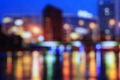 City blurred bokeh lights night view, abstract background Stock Photos