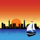 City with boat art illustration Royalty Free Stock Photos