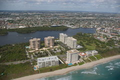 City of Boca Raton. Buildings, homes and intracoastal on Boca Raton - Florida. Luxury homes by the water royalty free stock photography