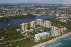 City of Boca Raton. Buildings, homes and intracoastal on Boca Raton - Florida. Luxury homes by the water royalty free stock photo