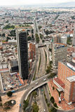 City of Bogota Colombia. Calle 26 street and its modern buildings at downtown Bogota, Colombia stock photo