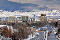 City of Boise. School Bus drives down Capital Boulevard Boise Idaho winter Stock Photo