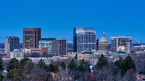 City of Boise with the city lights on Stock Images