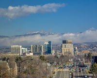 City of Boise Idaho with clearing fog in the foothills Royalty Free Stock Image