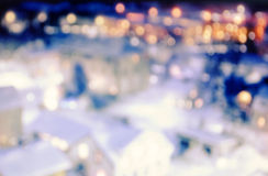 City  with bokeh lights at night Royalty Free Stock Photo