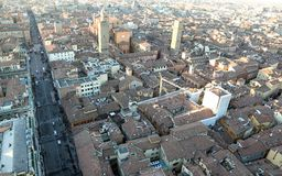 City of Bologna from ASINELLI Tower Italy Royalty Free Stock Photos