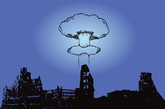 City after the bombing. The explosion of the atomic bomb over the city. Vector illustration Stock Images
