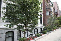 City  Boston apartment buildings with garden. Modern city Boston apartment buildings   , Mass  USA Stock Photography