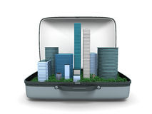 City in a box concept. A bright isolated illustration of tall buildings in a box Stock Image