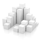 City of boxes on mirror floor. 3D illustration royalty free illustration
