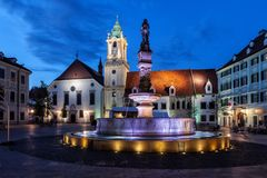 Bratislava Old Town Square By Night Stock Photography