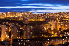 City Bratislava, Slovakia. Housing estate Dlhe diely at dusk, Bratislava, Slovakia Stock Photo