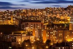 City Bratislava, Slovakia. Housing estate Dlhe diely at dusk, Bratislava, Slovakia Stock Photography