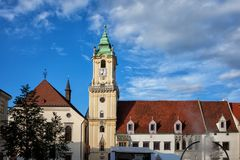 Old Town Hall and Jesuit Church in Bratislava Royalty Free Stock Photography
